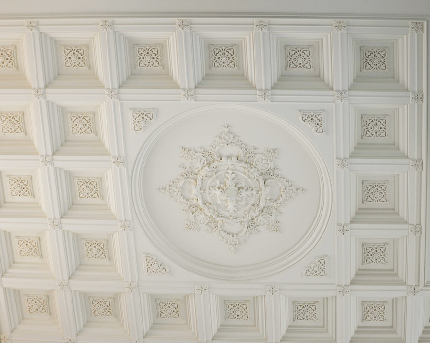 Ornamental Coffered Ceiling. Fabricated in our workshop and installed on-site
