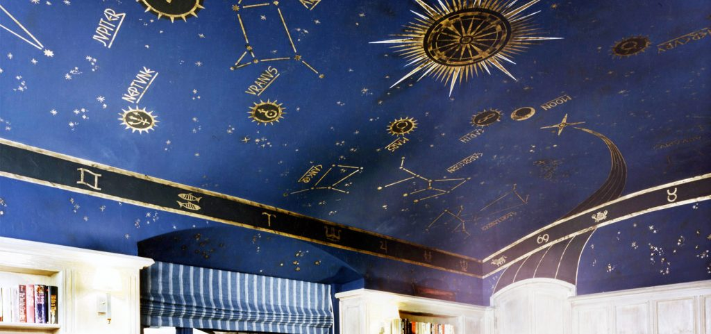 Hand painted Celestial Ceiling in historic Miami Beach residence