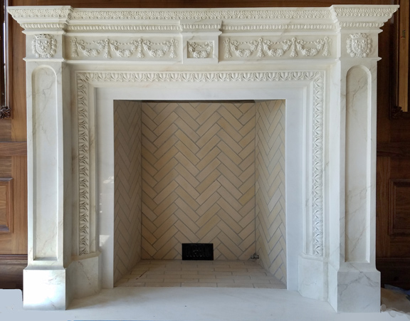 """Custom Mantel 69""""h x 84""""w One-of-a-kind, built by hand with faux marble finish"""