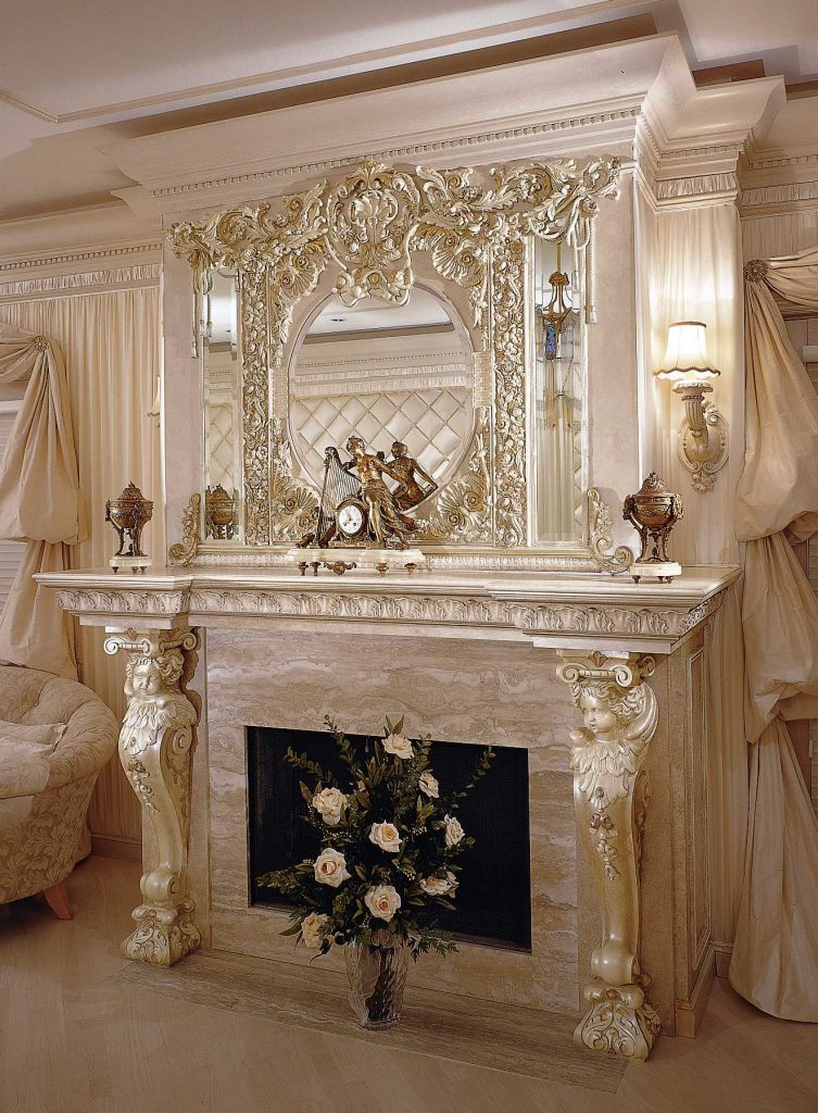 Custom Mirror and mantel with pearlescent finish in master bedroom