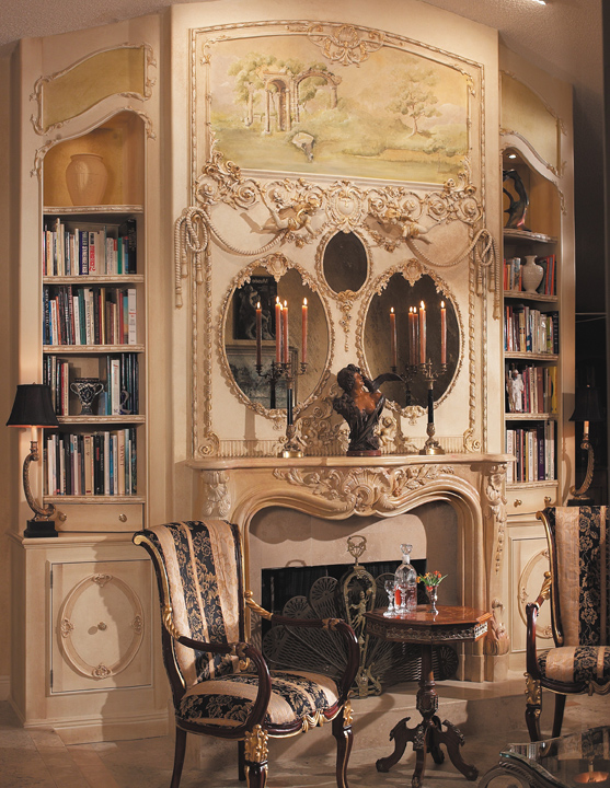 custom designed fireplace wall with trumeau mirror and library